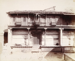 Bharot's House, Patan, showing elaborate wood carving on upper storey 1925